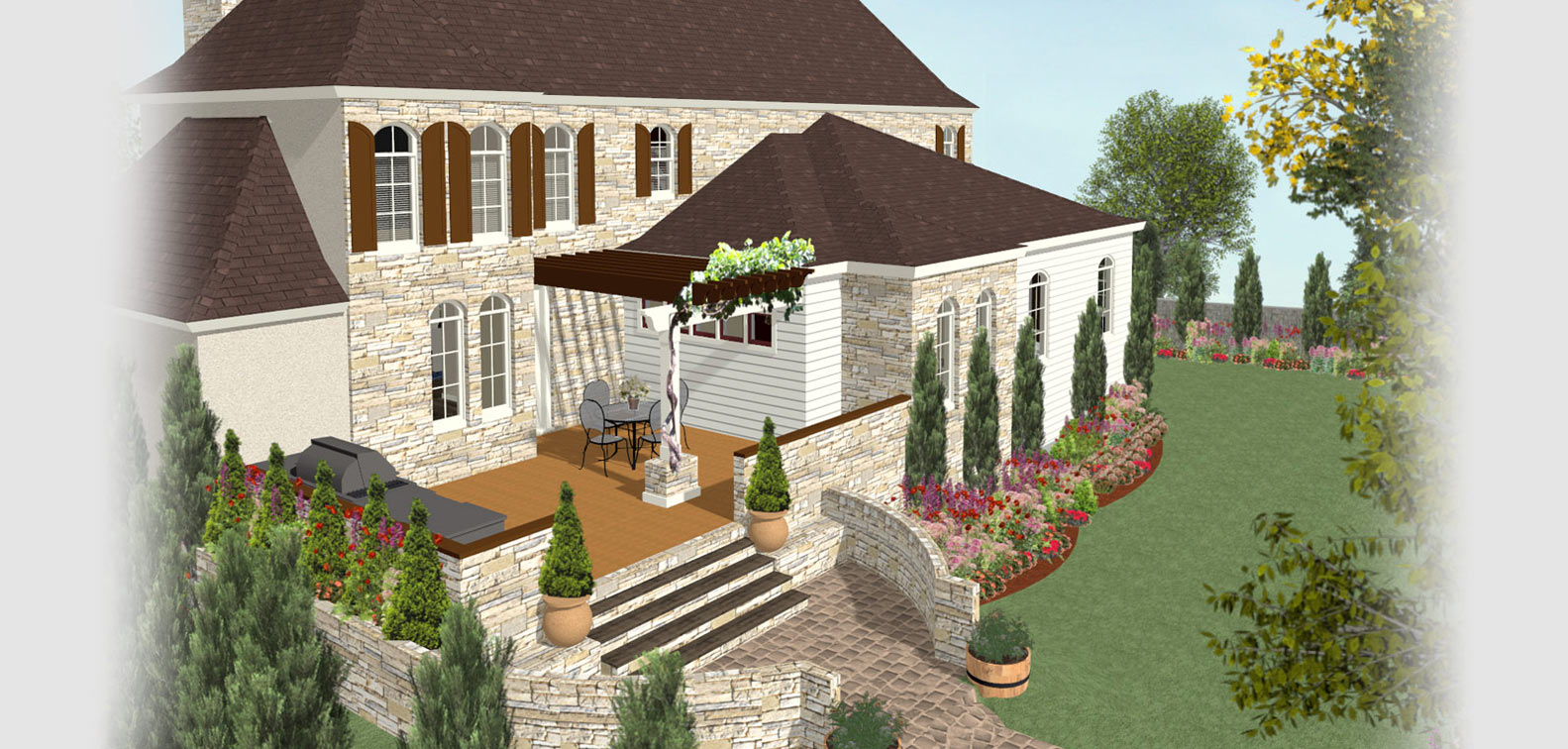 A backyard deck