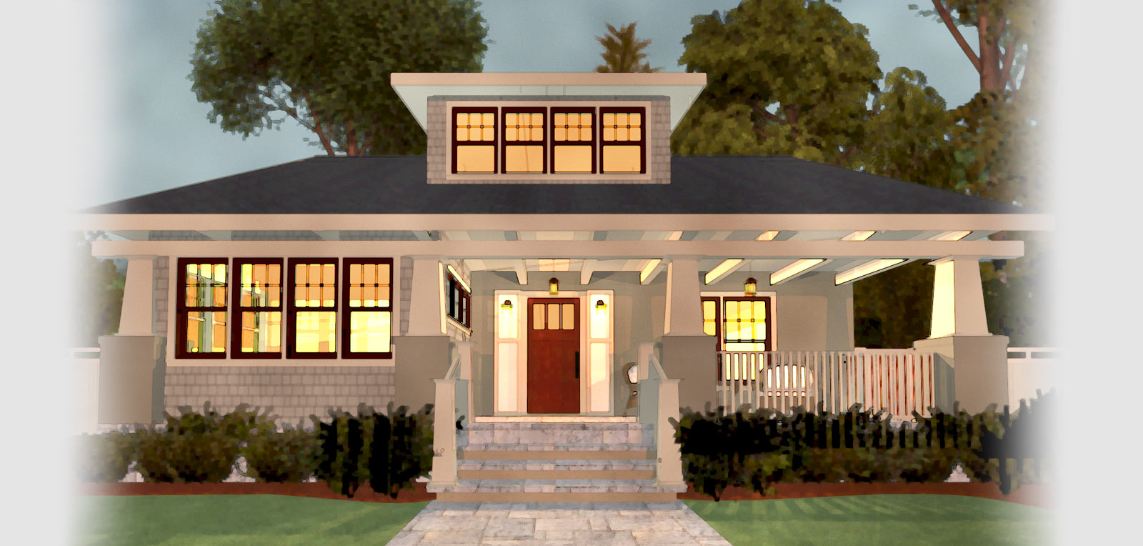 Water color rendering of a front entry porch