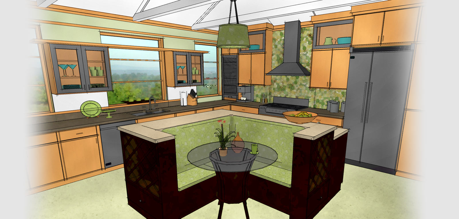 Technical drawing of a kitchen generated by home designer Kitcad kitchen design software